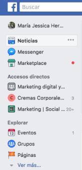 menu facebook perfil 1